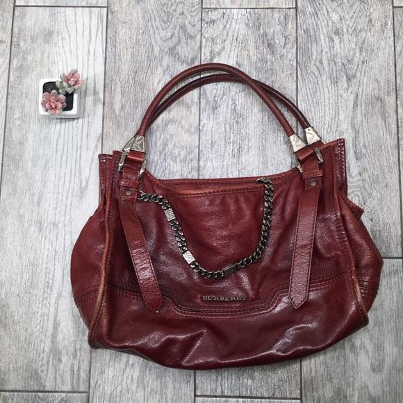 d1aae5934fb7 Burberry Handbags - Burberry burgundy leather chain shoulder bag